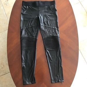 Bebe Faux Leather Stretch Pants Sz Small Black